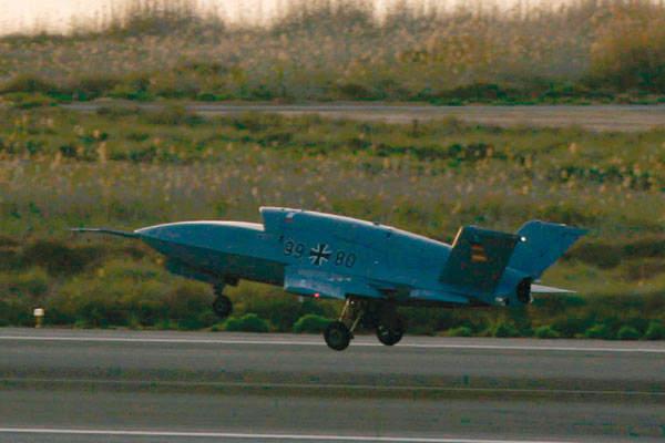 Barracuda UAV system during take off on a runway