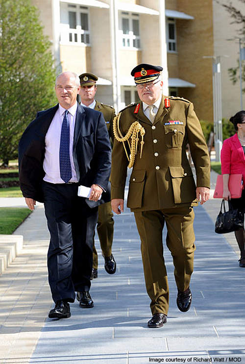 Commander-in-Chief Land Forces, General Sir Peter Wall and Armed Forces Minister Nick Harvey at HQ Land Forces site.