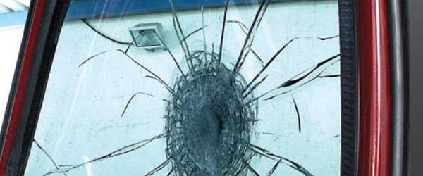 Glass which has been shot at and cracked