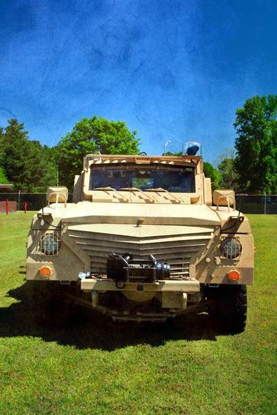 Face on view of a Cheetah armoured vehicle