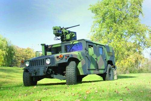 SRWS stabilised gimbal on a military vehicle