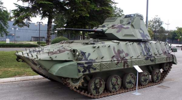 The Serbian BVP M-80A fitted with two 30mm Foka self-propelled anti-aircraft guns on display at the 'Partner 2011' military fair. Image courtesy of Kos93.