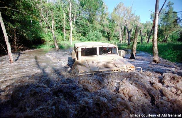 The HMMWV offers 40% of slide slope, 60% of slope-climbing and 60in of water fording capacities, making it an outstanding off-road vehicle.