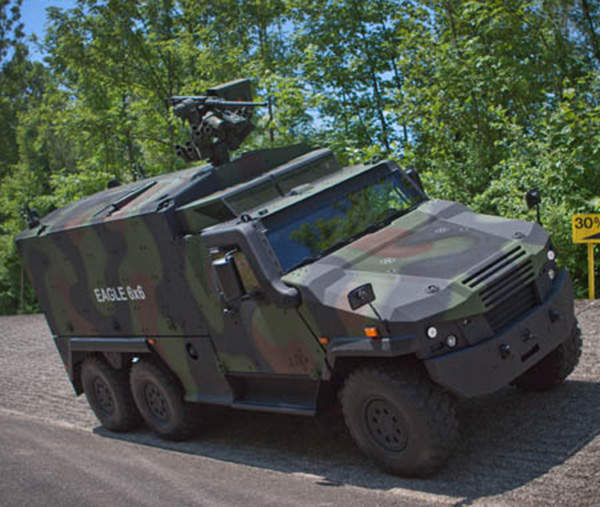 The Eagle 6x6 is mounted with Kongsberg M151 protector remote weapon station (RWS).