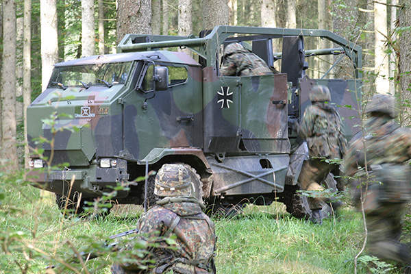 The Mungo armoured multi-role transport vehicle can accommodate ten fully equipped troops. Image courtesy of Krauss-Maffei Wegmann.