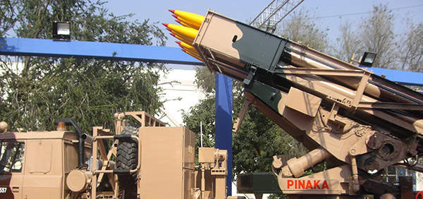 Pinaka MBRL system can launch a salvo of 12 rockets in fewer than 40 seconds. Image courtesy of Jjamwal.