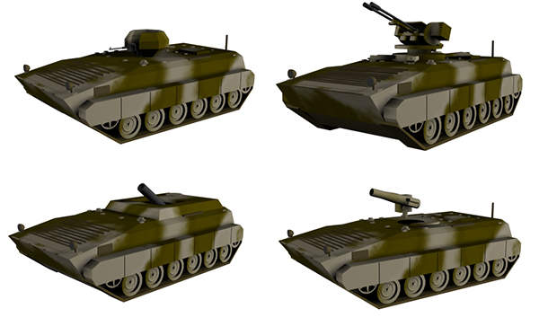 A graphical image depicting different versions of the Boraq armoured vehicle. Image courtesy of Aspahbod.