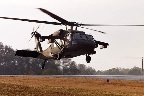 The UH-60M Black Hawk is equipped with three-point dual OLEO landing gear. Image courtesy of Sikorsky.