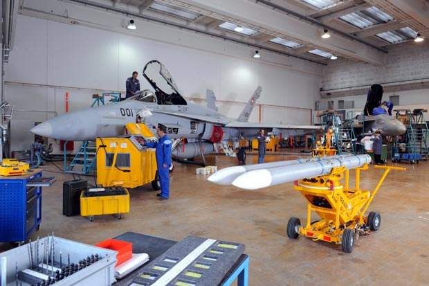 Plane undertaking weapons upgrades in hanger