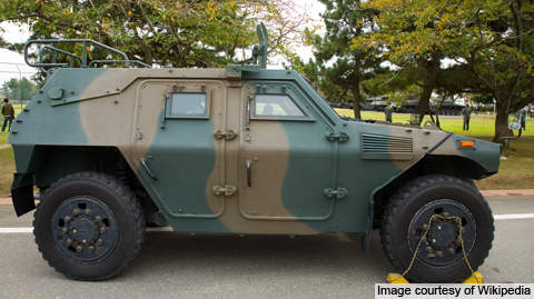 Side view of the JGSDF Komatsu LAV (Light Armoured Vehicle).