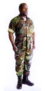 Solider wearing NOMEX flame-resistant clothing