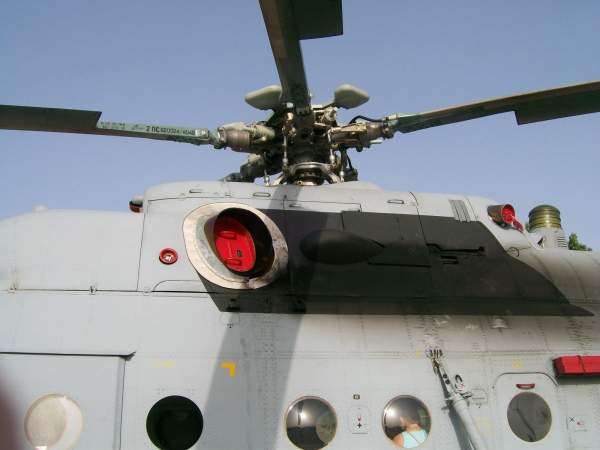 The Mi-171Sh military transport helicopter has a five-blade main rotor. Image courtesy of Suradnik13.