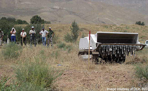 A DOK-ING MV-4 demonstrates its mine clearance capabilities during a training programme in Tajikistan.