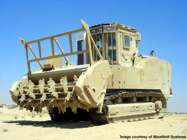 In January 2010, MineWolf Systems showcased the Medium MineWolf vehicle designed for Iraq and Afghanistan demining operations.