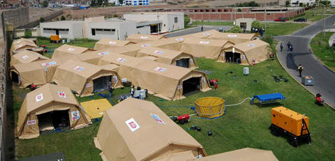Mobile field hospital camp in Peru