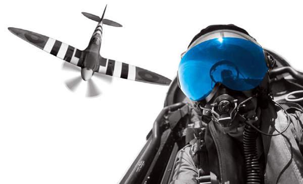 Fighter pilot sitting in plane
