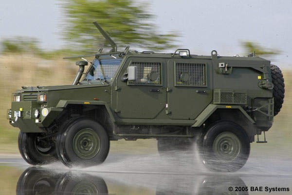 RG32M mine hardened patrol vehicle at Gerotek testing facility.