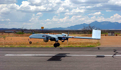 Shadow UAV during take off on a runway