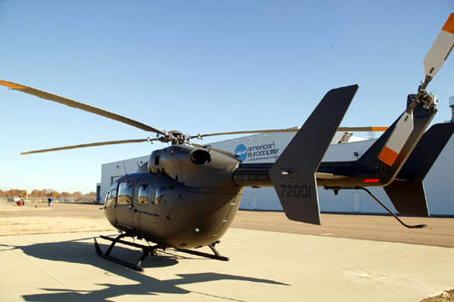 The UH-72A has a hingeless rotor system with composite 11m main rotor blades and high-set, twin-blade 1.96m tail rotor.