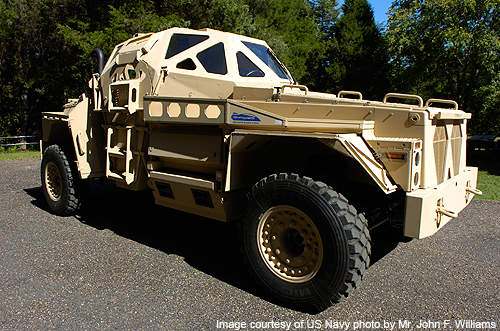 A side view of the Ultra armoured patrol vehicle.