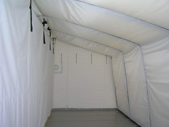 Interior or a pneumatic tent with isolation cover