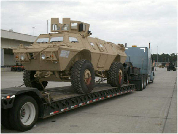 The Mobile Strike Force Vehicles arrive at Port of Charleston for further transit to Afghanistan. Image courtesy of the US Army.