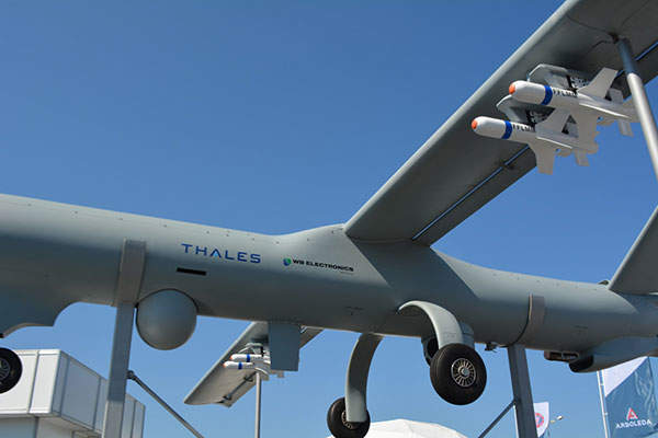 The armed UAS can carry Thales' Free Fall Light Multirole Missile (FF LLM) precision-guided glide munitions. Image: courtesy of WB Electronics S.A.