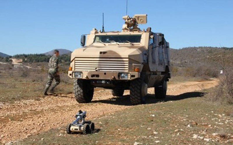 The NERVA robot can be deployed from an Aravis mine-resistant ambush protected vehicle. Image courtesy of Nexter Group.