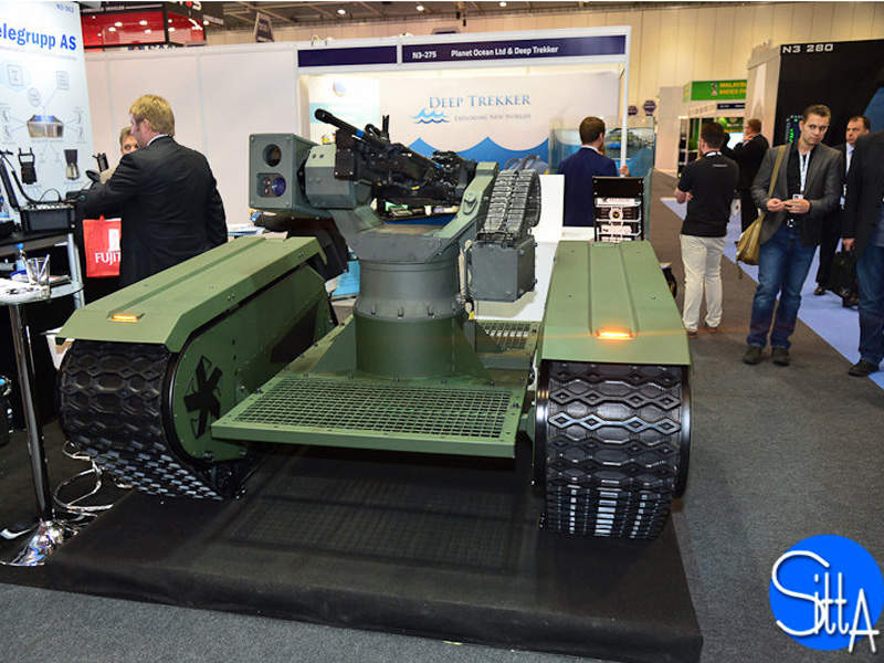 A prototype of THeMIS UGV was introduced at the DSEI 2015 exhibition. Image courtesy of Ministry of Defence, France.
