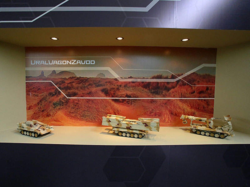 A model of the BREM-1M armoured recovery vehicle on display at SITDEF-2015 exhibition. Image courtesy of JSC