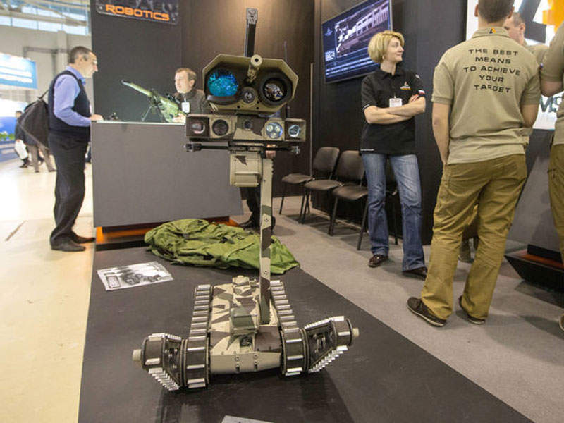 Minirex robot seen during the Interpolitex 2016 international defence and security exhibition. Image courtesy of TASS, Dmitry Serebryakov.