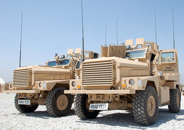 The Cougar Mine Resistant Ambush Protected (MRAP) vehicles are produced by General Dynamics Land Systems, U.S. Army photo by Jim Hinnant, 401st Army Field Support Brigade.