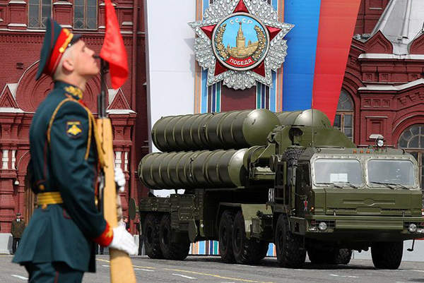 The S-400 Triumph air defence missile system during a military parade in Moscow.