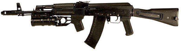 The AK74M assault rifle can be attached with an under-barrel grenade launcher. Image courtesy of S5switch.