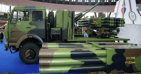The LRSVM self-propelled multitube rocket launch system can fire 128mm Oganj, 122mm Grad and 128mm Plamen rockets. Image courtesy of Kos93.