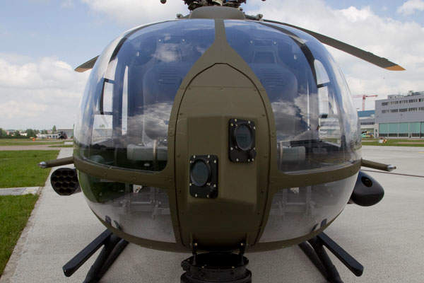 A close front view of the H145M light utility helicopter (LUH). Image courtesy of ECD / Charles ABARR.