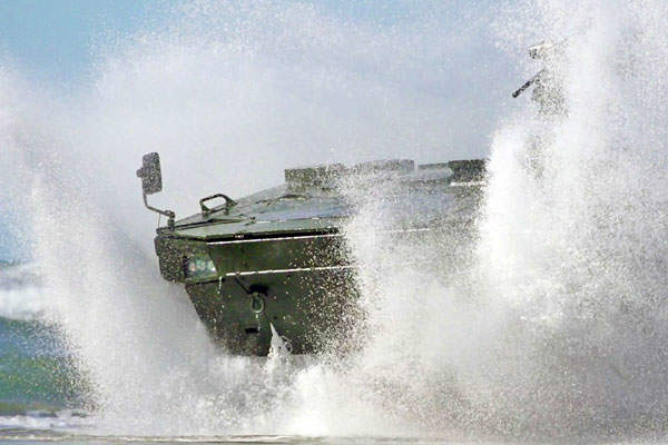 Havoc 8x8 AMV during swimming tests in summer 2013.