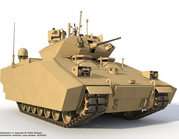 The Ground Combat Vehicle (GCV) of BAE Systems-Northrop Grumman will be armed with a 25mm auto-cannon and a 7.62mm coaxial machine gun. Image courtesy of BAE Systems.