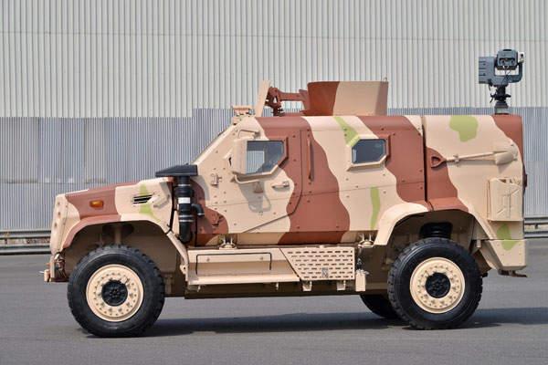 A side profile of TATA LAMV (Light Armoured Multipurpose Vehicle).