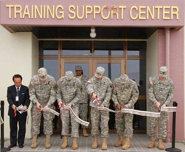 A new Training Support Centre being inaugurated at the United States Army Garrison (USAG)-Torii Station. Image courtesy of Lauren Hall.