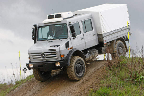 Mercedes-Benz's Unimog U 4000 truck features an all-steel semi-forward cab offering high levels of crew safety.