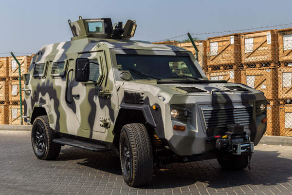 The vehicle features a manual or electric rotating turret with a universal weapons mount. Image courtesy of STREIT Group.