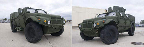 The Eagle Joint Light Tactical Vehicles (JLTVs) being delivered for the US Army and Marine Corps for Technology Development (TD) phase testing.