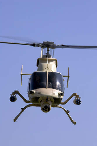 The ARH-70A helicopter face on which is the replacement for the Bell Kiowa Warriors Helicopter
