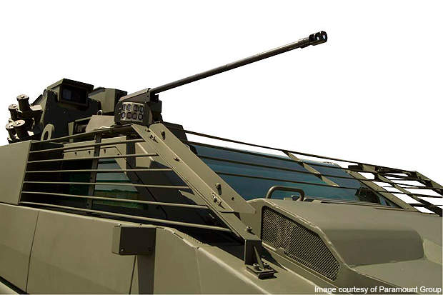 The main gun mounted on Mbombe is a dual feed 30mm calibre cannon.