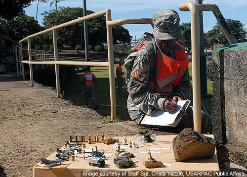 A soldier assesses a simulated table representing battle movement during Warrior Task Training.