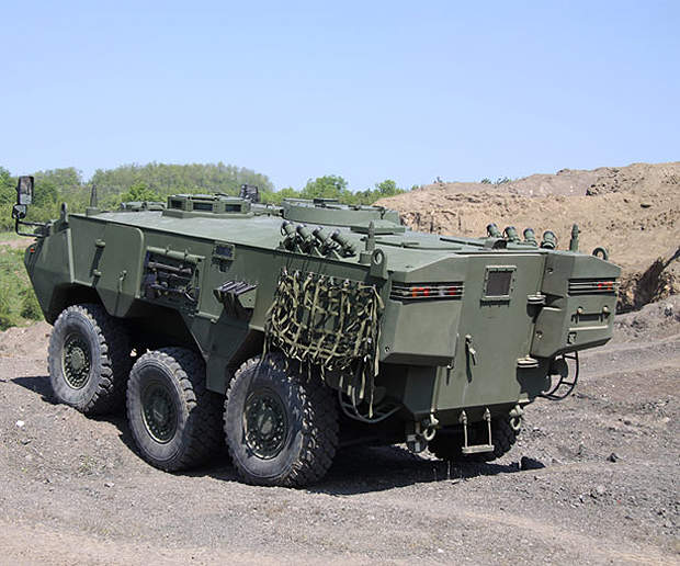 The vehicle can carry commander, driver and eight dismounts.