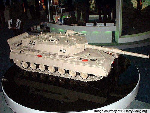 A model of the DRDO-developed Arjun MBT on display.