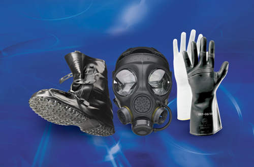 Lightweight gasmask and rubber protection gloves
