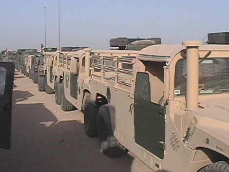 Convoy of military jeeps